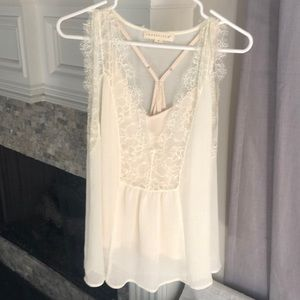 Love stitch lace top with attached camisole